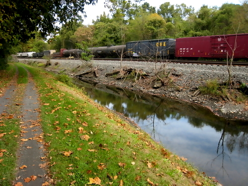 Freight train on the canal path in Bethlehem, PA