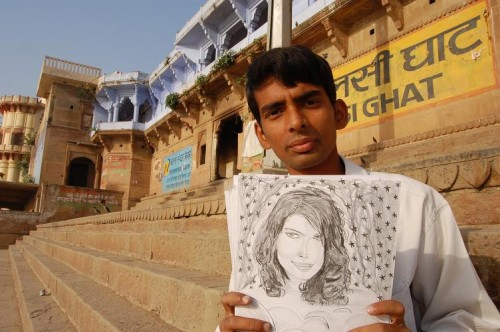 sketch artist and sketch varanasi banaras india assi ghat